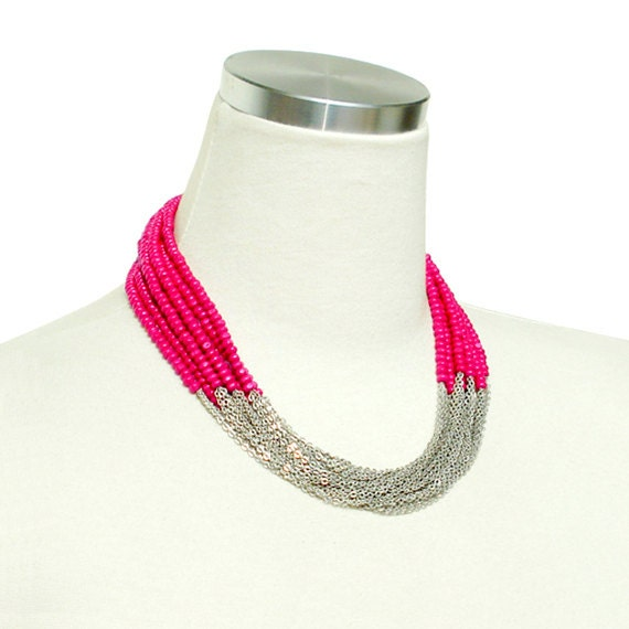 Boho Chic Necklace - Pink