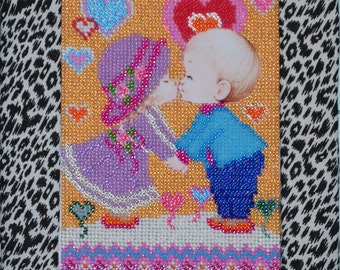 """Bead Embroidery Picture """"Сouple in love"""""""