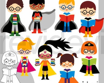 Superhero clip art / Clipart Superhero with glasses and books - back to school clip art, commercial use, school clipart