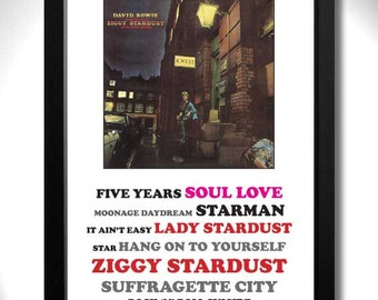 DAVID BOWIE - Ziggy Stardust Album Limited Edition Unframed A4 Art Print with Song Titles