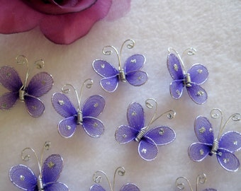 Purple Nylon Butterfly Embellishments for Wedding Accessories, Party Favors, Table Scatters - 1 inch / 25 mm, 24 or 50 pieces