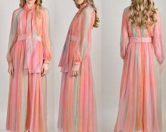 vintage Mollie Parnis pink striped maxi dress gown H11