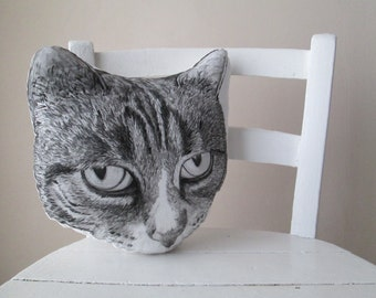 big cat pillow head shaped for crazy cat lady decorative throw cushion black and white tabby cat hand painted gift idea