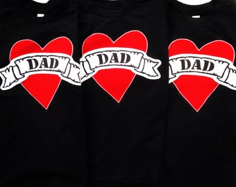 Fathers Day Dad tattoo Black tshirt kids outfit Shirt Applique shirt card gift kids baby children clothing hip Boutique valentines heart