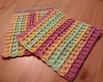 Reusable Cotton Dishcloths - 2 Pack -  Hand Crochet