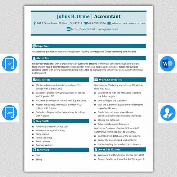 Professionelle MS Word 2 Seite Lebenslauf-Vorlage Referenzen