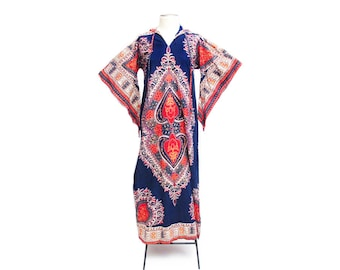 Vintage 70s hooded dashiki caftan maxi dress boho indie hippie fashion