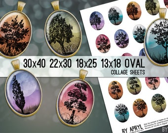 Moonlight Trees 30x40 22x30 18x25 13x18 Oval Digital Collage Sheet for Glass and Resin Pendants Magnets Paper Craft