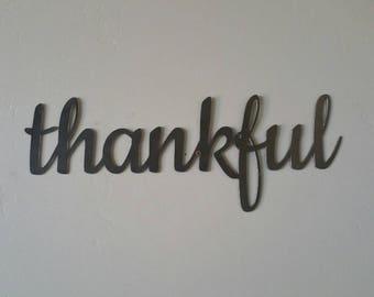 Thankful Metal Sign, Thankful Sign, Thankful Metal Word, Thankful Metal Art