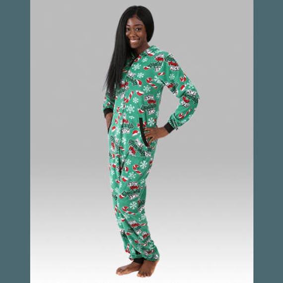 UNISEX adult santa CLAWS pajamas, adult body suit pajama, matching sleepwear, holiday pajamas, gnomes, christmas pjs, cats pajamas, cat pjs