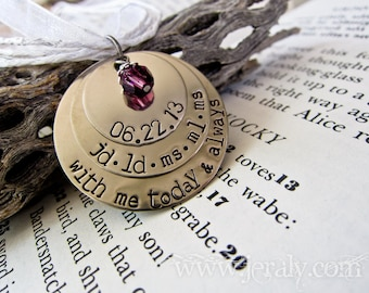 Hand Stamped Mother Necklace - Personalized with Name and One Birthstone Charm - Three Discs
