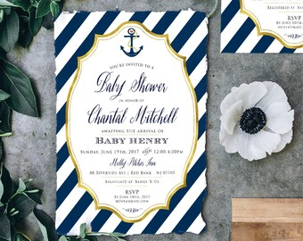 Nautical invitation - nautical baby shower invitation - anchor invitation - baby shower invitation - ahoy its a boy!