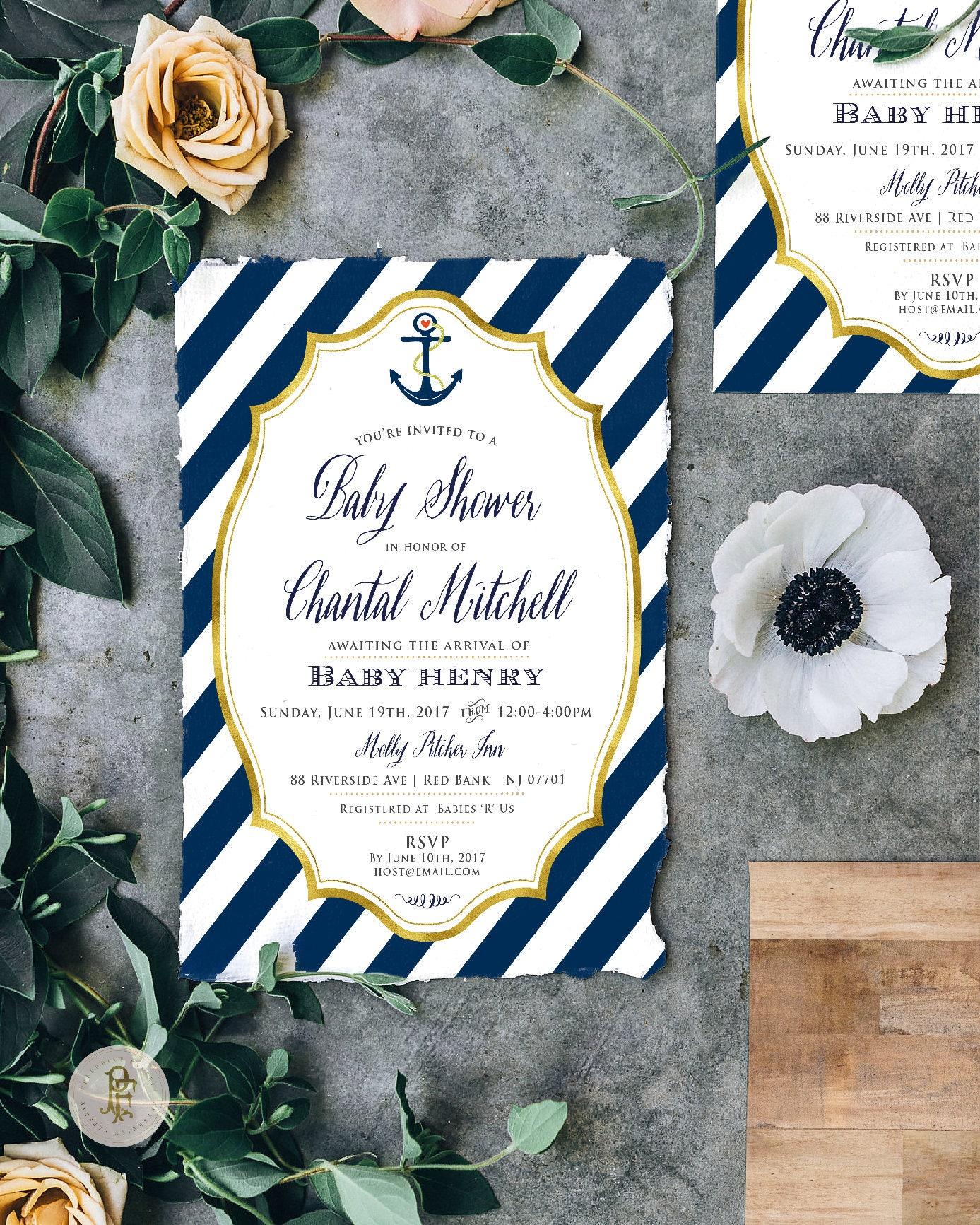 Nautical invitation - nautical baby shower invitation - anchor ...