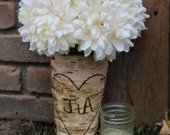RUSHED* Personalized Birch wood Vase / Birch Vase / Birchwood Vase / Birch / Sparkler Holder / Personalized Bark Vase / Bark Vase