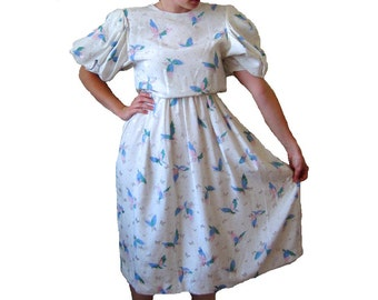 SALE - HANAE MORI Butterfly Dress Vintage Couture, size Medium / Large
