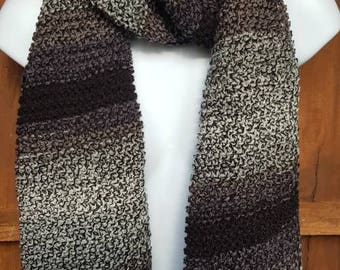 Cosy hand knitted scarf in black, gray and white
