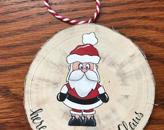 Santa Ornament, Christmas Ornament, Wood Slice Ornament, Santa Claus, Hand Painted Ornament, Santa, Rustic Ornament, Holiday Decor,