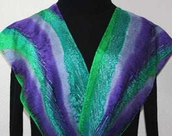 Green Silk Scarf. Teal Hand Painted Silk Shawl. Purple Handmade Silk Scarf GRAPE COUNTRY, in 2 SIZES. Birthday Gift, Anniversary Gift.