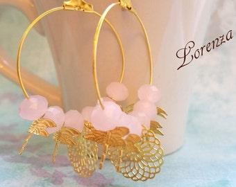 Boucles rose opaline et libellule dorées