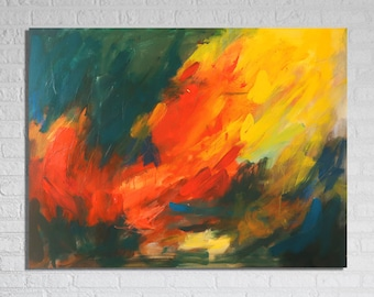 """Large Abstract Painting / Contemporary Art / Original Artwork. """"Lionhearted"""" Mixed Media on Canvas 30x40"""""""