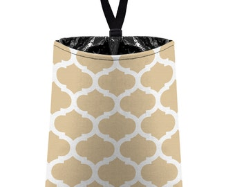 Car Trash Bag // Auto Trash Bag // Car Accessories // Car Litter Bag // Car Garbage Bag - Moroccan Trellis - Light Tan Beige and White