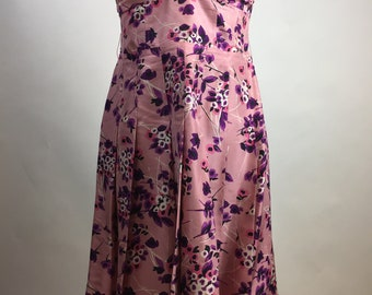 Italian Silk Pink Floral Strapless Party Dress