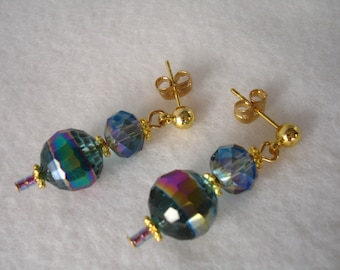Post earrings with blue crystals, stud earrings with round crystal beads, gold plated, crystal earrings