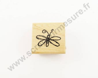 X 1 PCs - Butterfly - wooden rubber stamp
