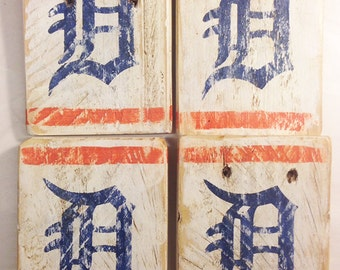 Old English D, Detroit, Tigers, Vintage-looking MINI Pallet wood hand made, hand painted signs, stocking stuffer, secret santa