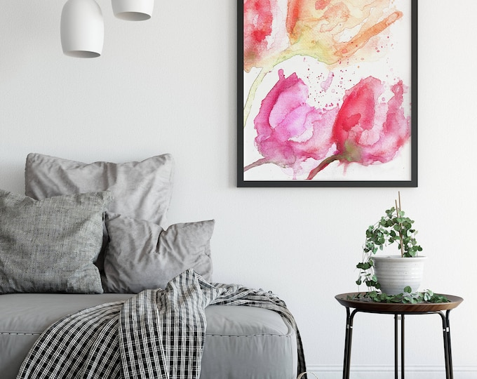 Watercolor Tulip Painting - Colorful Flower Print - Flower Wall Art - Bouquet Print