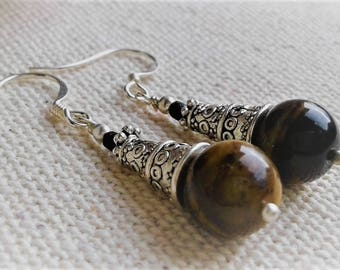 Ethnic earrings - Tiger eye - Nepal Tibet - stone jewelry