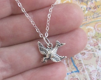 Little Bird In Flight Necklace Sterling Silver Charm Pendant Chain DJStrang Boho Minimalist Freedom Guardian Sparrow Flight Protection