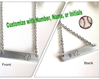 Softball Necklace, Team Jewelry, Coach Gift, Custom Sport Necklace, Personalized Necklace, Baseball Mom Necklace