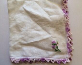 Vintage Hankie Handkerchief White with Lavender Scalloped Crochet edges