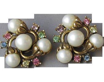 Unsigned Hollycraft 1950's Vintage Pastel Rhinestone & Faux Pearl Flower Earrings