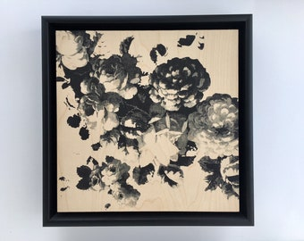 Original Art Framed Screen Print on Wood Panel. 12 x 12 inches. Floral Pattern.