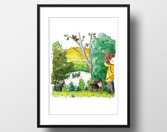 Lincoln Park A4 Print - Watercolour Print - River Illustration - Countryside Art - Wall Art - Nature Art - English Countryside