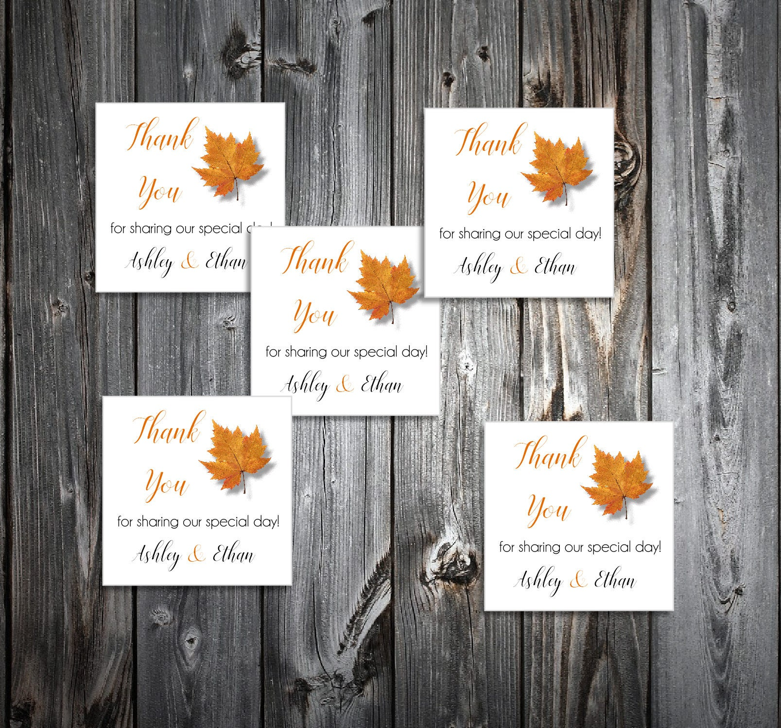 100 Fall Leaf Wedding Favor Stickers. Personalized printed square ...
