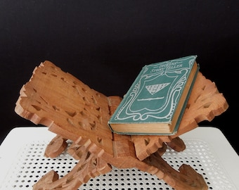 Wooden Folding Book Holder - Anglo Indian Decor  Vintage Carved Wood Bookend - Bohemian Decor - Book Display