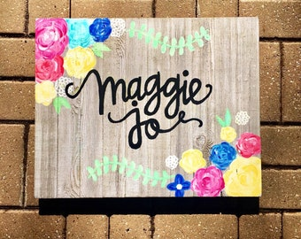 Custom 16x20 Floral Name Sign