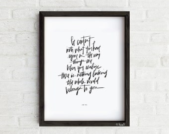Content Art Print, Inspirational hand lettered Lao Tzu quote