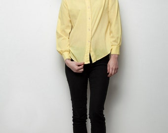 yellow top long sleeve button down shirt pointy collar cotton blend vintage 70s S M SMALL MEDIUM