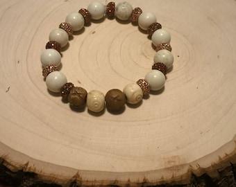Cream and copper stretch bracelet