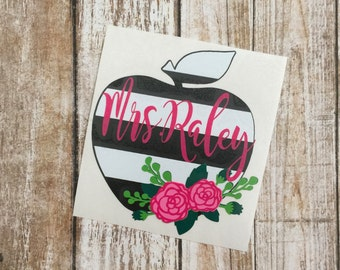 Teacher Decal   Apple Decal   Black and White Striped Decal   Personalized Decal   Monogram Decal   Yeti Decal   Car Decal   Vinyl Decal