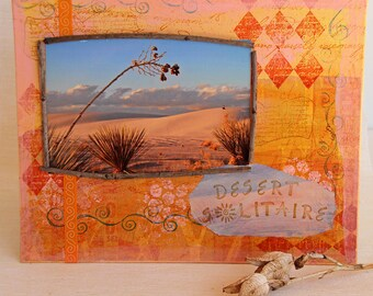 White Sands Photo Mixed Media Painting on 8 x 10 Canvas Board, Sunset in Desert, American Southwestern Landscape, Original Artwork