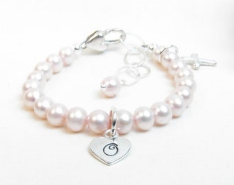 Personalized Bracelet for Newborn Infant Baby Little Girl - Girl Baptism Gift - Christening Baptism Bracelet - Pink Pearl Initial Monogram
