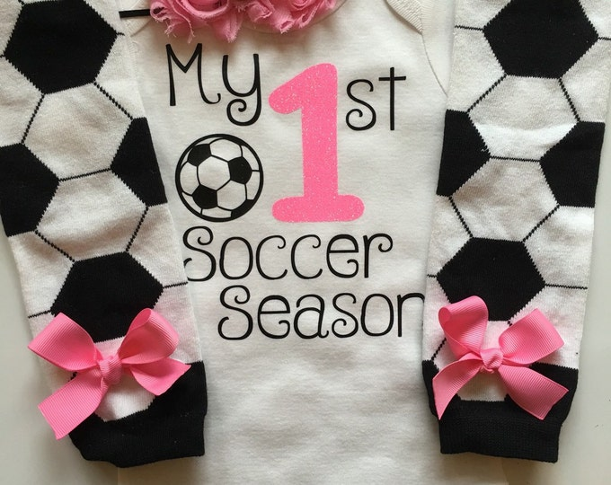 Baby Girl Soccer Day Outfit - My 1st Soccer Season outfit- Soccer baby outfit - personalized baby outfit - baby girl photo prop