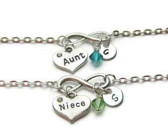Aunt And Niece Personalized Bracelets, Bracelets For Aunt And Niece, Aunt Bracelet, Niece Bracelet, Aunt And Niece Jewelry, Persnalized