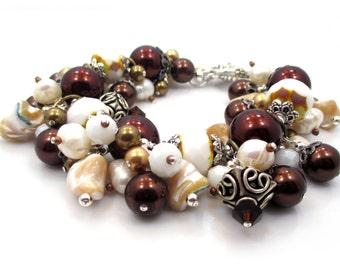 Seashell Bracelet, Gift for Her, Christmas Gift for Women, Seashell Jewelry, Beaded Bracelet, Shell Bracelet, Charm Bracelet