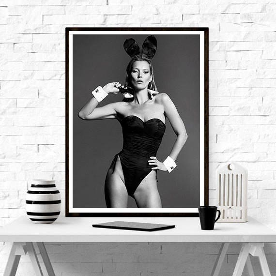 Kate Moss Playboy Bunny Home Décor Vintage Poster Fashion